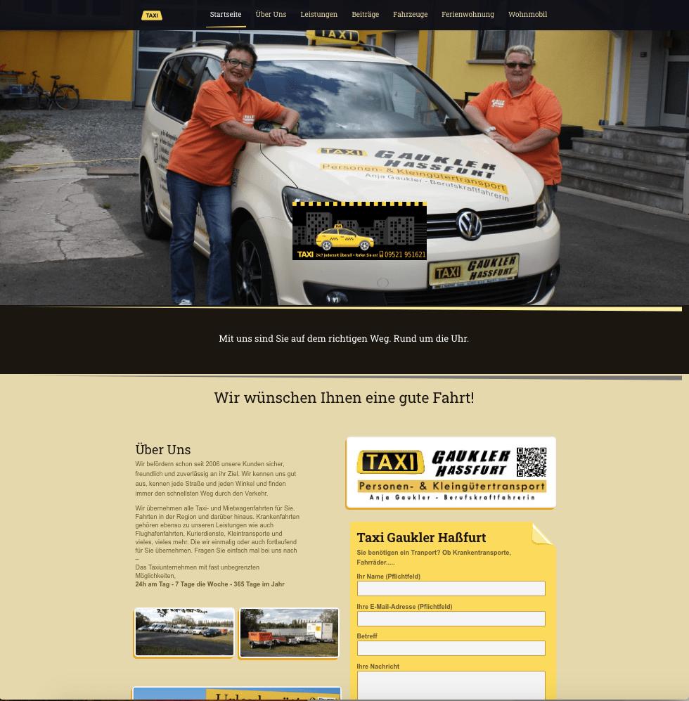 Die Webseite der Taxi Gaukler in Hassfurt