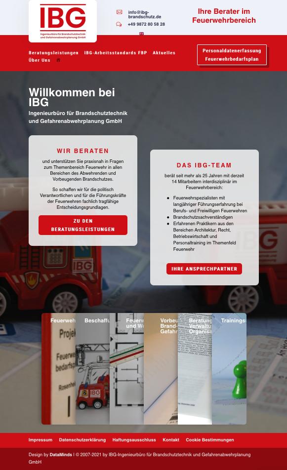 IBG Brandschutz Webdesign von Data Minds